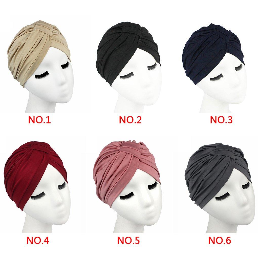 QHGstore Femmes Soild couleur cheveux envelopper couvrir Indien Turban Chapeaux casquettes de Modal Kaki