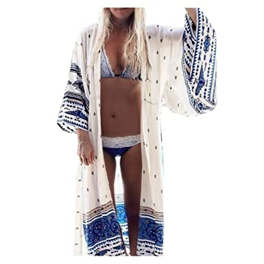 7cb739084228d Womens Sexy Bohemian Printed Long Beachwear Cover up Kimono Cardigan -  Summer Beach Chiffon Swimwear Bikini