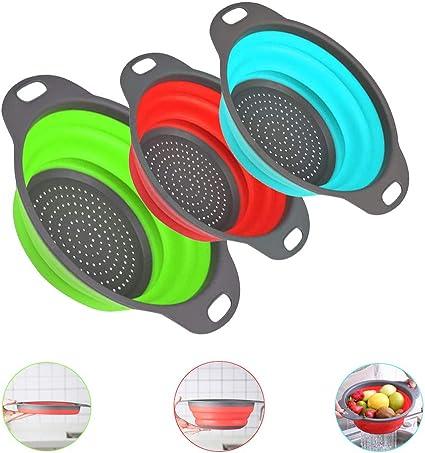 Colador de Cocina Plástico 3pcs Set Escurridor Pasta Plegable, Coladores de Silicona sin Tóxico, Accesorios Cocina para Camping, Verduras, Frutas ...