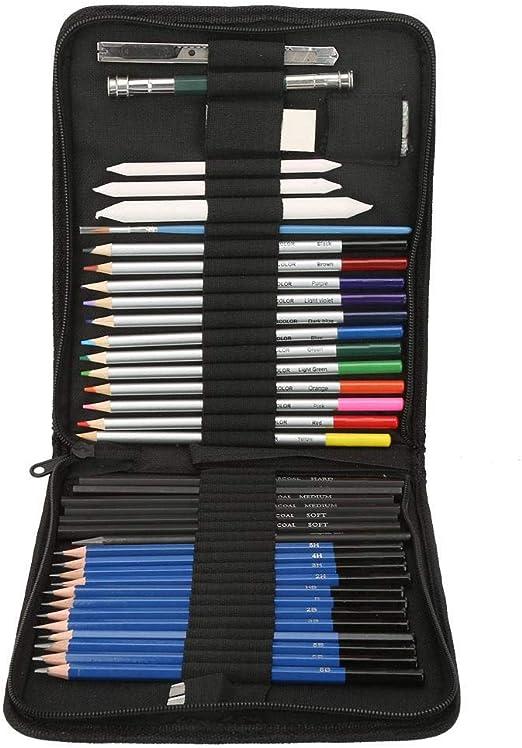 Juego de lápices de colores de 40 piezas con estuche de transporte con cremallera, dibujo de