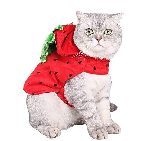 Rocita Bonito Disfraz de Perro Gato Mascota Ropa para Cachorro Gatito Fresa con Capucha Ropa Halloween