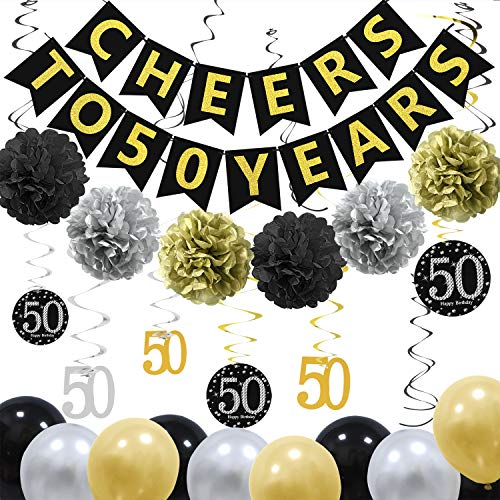 ZukoCert 50th Birthday Decorations Kit Gold Glittery Cheers