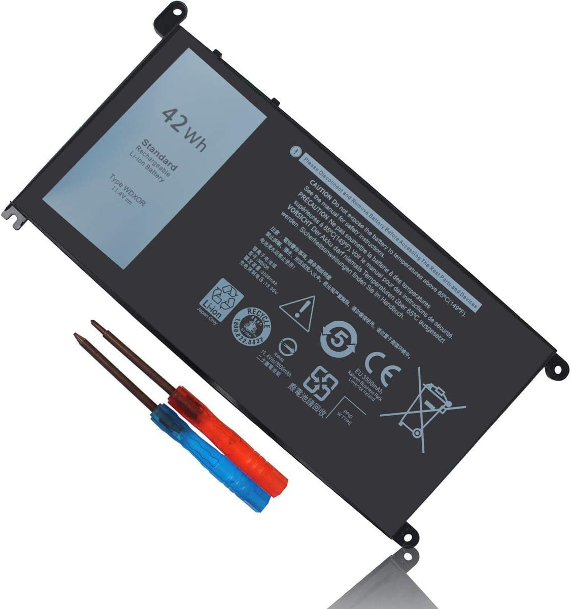 WDX0R WDXOR Battery Compatible with Dell Inspiron 15 5565 5567 5568 5570 5578 7560 7570 7569 7579 Inspiron 13 7368 7378 5368 5378 5379 17 5765 5767 5770 3CRH3 T2JX4 FC92N CYMGM P69G P58F Battery 42Wh