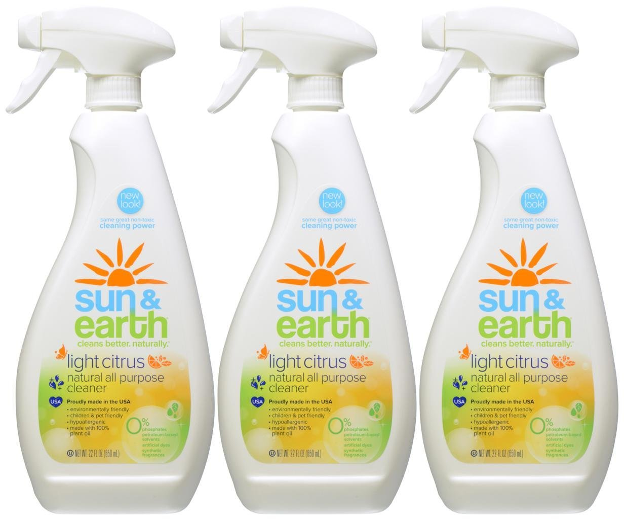 Natural All-Purpose Cleaner - Light Citrus Scent - Non-Toxic, Plant-Based, Hypoallergenic - 22 Ounce Spray Bottle (Pack of 3) by Sun & Earth (Image #1)