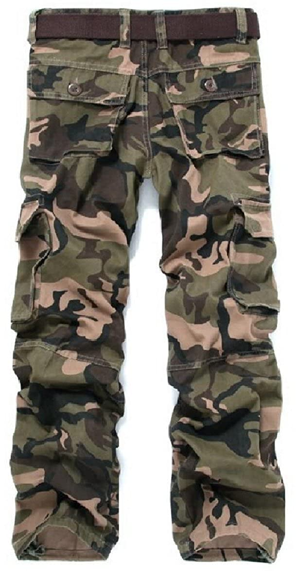 zhaoabao Mens Military Loose Fit Multi-Pocket Cotton Camouflage Cargo Pants
