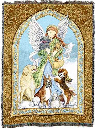 Pure Country Weavers | Guardian Angel and Dogs Woven Tapestry Blanket with Fringe Cotton USA 72x54