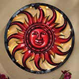 Bits and Pieces - Solar Sun Wall Art - LED Metal Wall Sculpture - Indoor and Outdoor Décor