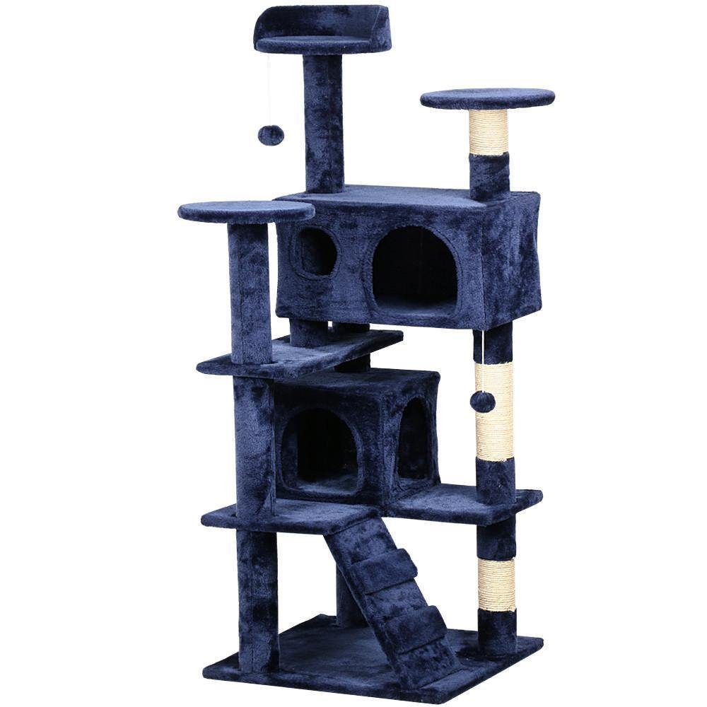 Yaheetech 53.5'' Cat Tree Tower Condo Furniture Scratch Post for Kittens Pet House Play Navy Blue