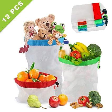 Meiruier 12pcs Bolsa Reutilizable Algodon de Vegetales,Bolsa de Malla Lavable,Bolsas Reutilizables Compra, Bolsas de Malla Transpirables Adecuado para ...