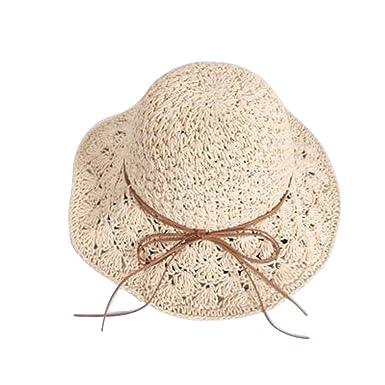ee0b8e631d4 Cupcinu Women Ladies Girls Floppy Hollow Straw Hat Summer Sun Beach Sun  Visor Caps Wide Brim