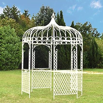 Glorieta, kiosko, cenador de jardín de hierro, 200 cm de diámetro, blanco: Amazon.es: Hogar