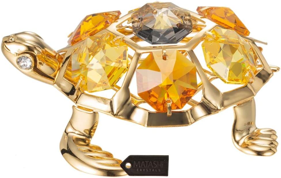 Matashi 24K Gold Plated Turtle with Topaz Ornament Made with Genuine Crystals - Great Gift for Birthday Anniversary New Year Christmas, Office and Home Decor Showpiece