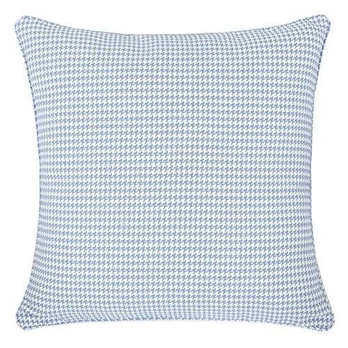 Home Accent Pillows Homey Cozy Jacquard Cotton Throw Pillow Cover,Blue Houndstooth Modern Silk Plaid Textured Sofa Couch Decorative Pillow Case 20x20,Cover Only ()