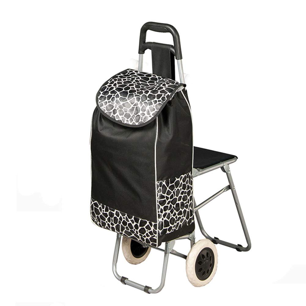 Trolley Folding Shopping Trolley, Grocery Cart with WheelsFolding Shopping Cart, Stair Climbing Cart Luggage Cart with Wheels Detachable Backpack/Storage Bag,with Folding Seat by WZL