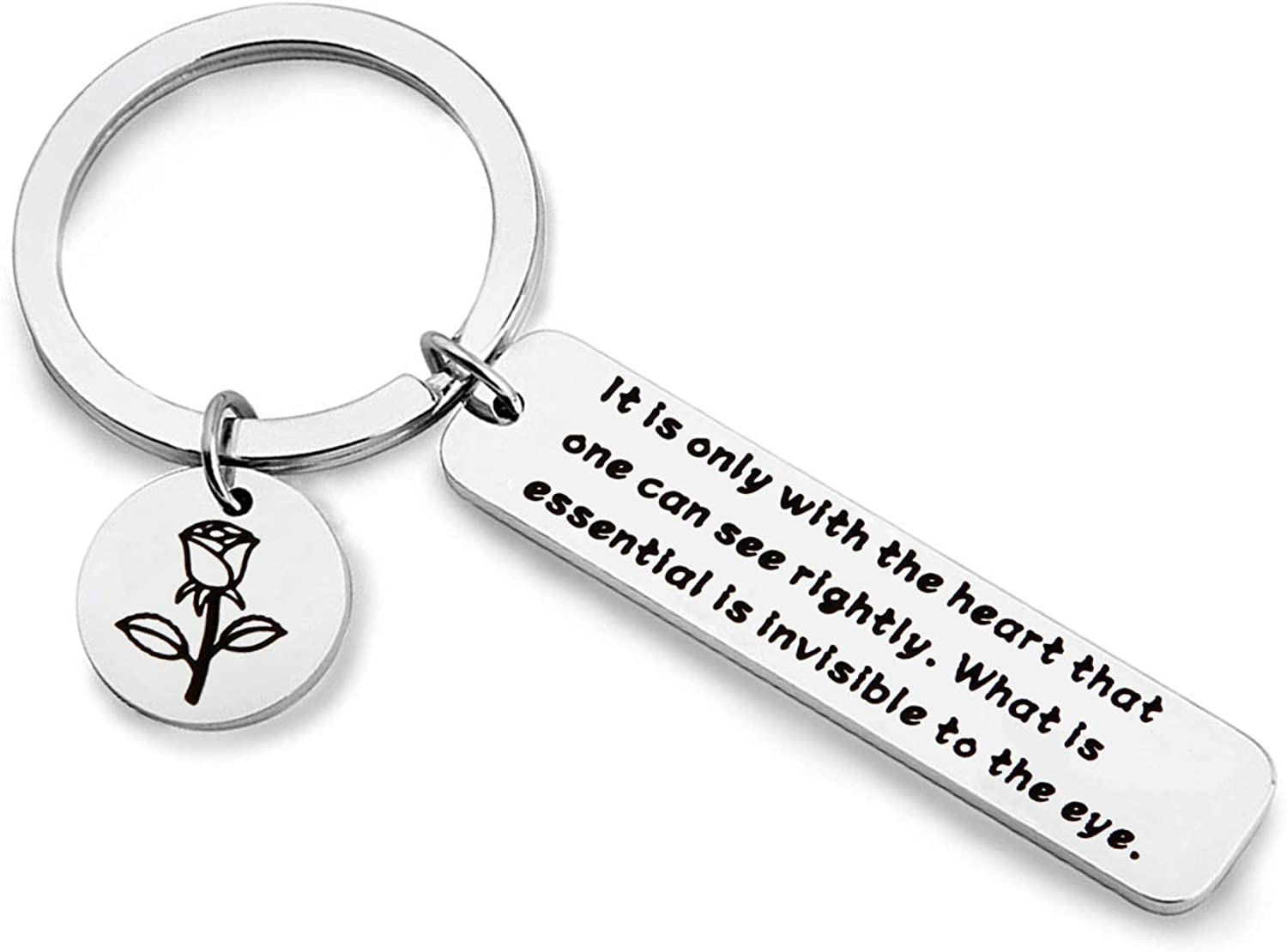 WUSUANED The Little Prince Quote Keychain with Heart Can See Rightly The Essential is Invisible to The Eye Inspirational Gift