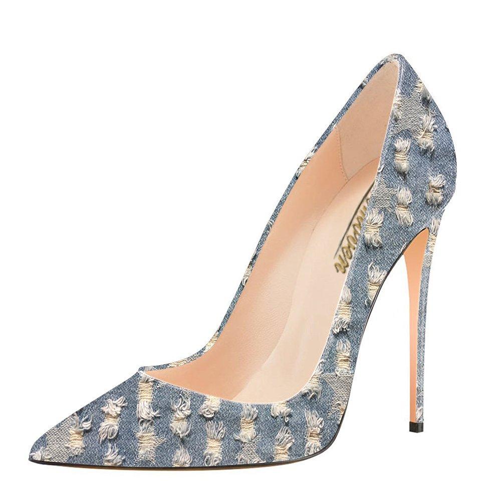 Modemoven Women's Pointy Toe High Heels Slip On Stilettos Large Size Wedding Party Evening Pumps Shoes B0725PDKFM 14 B(M) US|Holes Denim