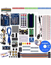 Kuman Más Completo y Avanzado de Arduino Mega Starter Kit para Arduino Uno R3 con Guías Tutorial Detallada, MEGA2560, Mega328,5V Motor Paso a Paso, Kit Arduino con Placa