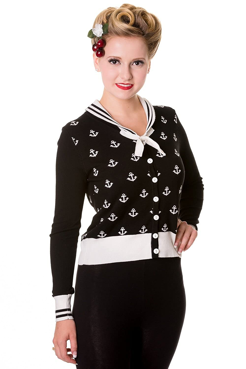 Vintage Sweaters: Cable Knit, Fair Isle Cardigans & Sweaters Banned Pinup Sailor Sail Away Mini Anchor with Bow Cardigan $55.00 AT vintagedancer.com