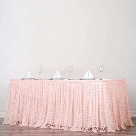 3bca40cd337 Amazon.com  BalsaCircle 17 feet x 29-Inch Blush Premium Lace Banquet Table  Skirt Linens Wedding Party Events Decorations Kitchen Dining  Kitchen    Dining