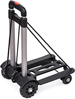Anleolife Folding Carts with 4 Wheels Grocery Travel Dolly Back Saver Luggage Carts Car Seat Carrier (Heavy Duty 110lb max)