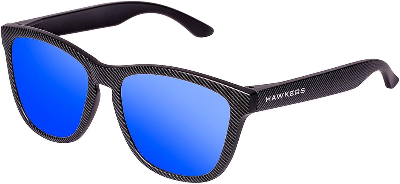 HAWKERS Gafas de Sol One Carbono, para Hombre y Mujer, con Montura Negra Mate con Trama y Lente Esmeralda Efecto Espejo, Protección UV400 Unisex Adulto