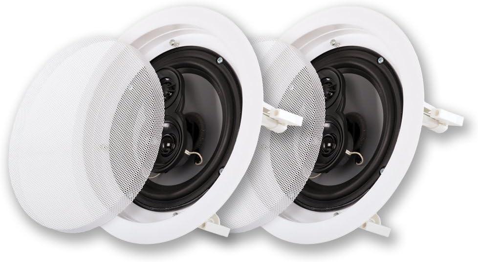 "Acoustic Audio CSic63 in Ceiling 6.5"" Speaker Pair 3 Way Home Theater Speakers"