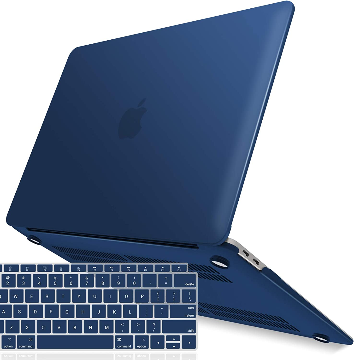 IBENZER MacBook Air 13 Inch Case 2020 2019 2018 New Version A2179 A1932, Hard Shell Case with Keyboard Cover for Apple Mac Air 13 Retina with Touch ID, Navy Blue, MMA-T13NVBL+1