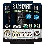 Black Knight Decaf Organic Fair Trade Coffee, 12 oz. Ground Bags,Water Processed Decaf, Fresh Roasted Coffee LLC. (Pack of 3)