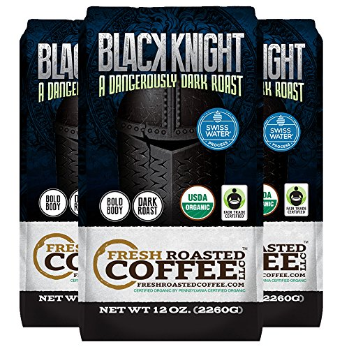 Black Knight Decaf Organic Fair Trade Coffee, 12 oz. Whole Bean Bags, Water Decaf, Fresh Roasted Coffee LLC. (Pack of 3)