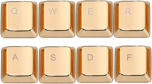 Koolertron teclas, zinc qwerasdf 8 metal clave Caps Covers LOL Moba Edition para teclado mecánico