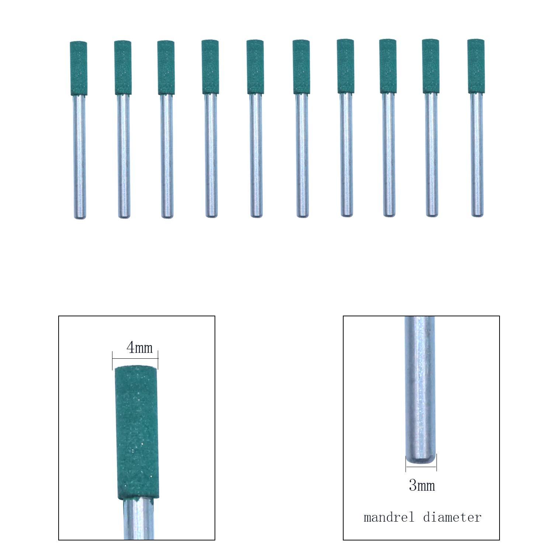 NIUPIKA verde Broca de goma para pulir con forma de bala y mandril giratorio de 3 mm