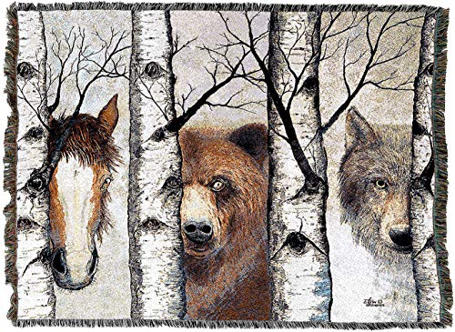 Pure Country Weavers - Trio Horse Bear Wolf Wild Woven Tapestry Throw Blanket with Fringe Cotton USA ()