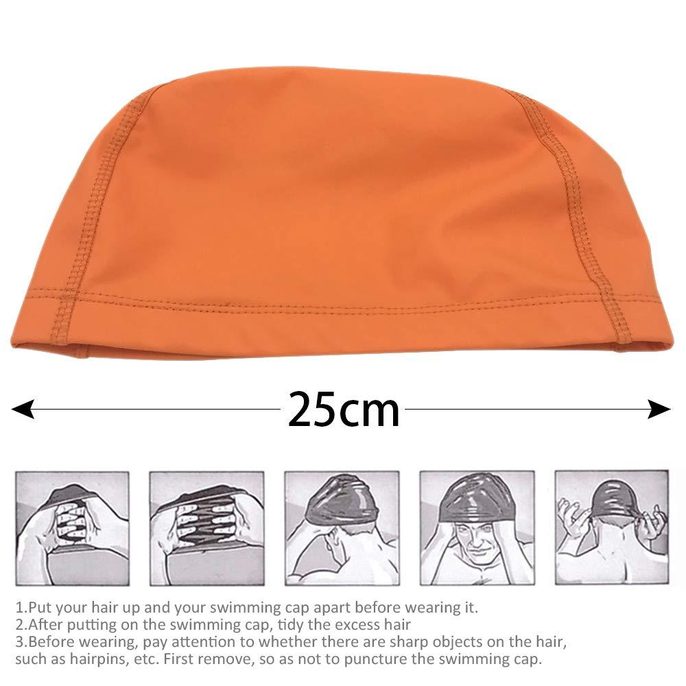DAZISEN Bonnet de Bain Longs Cheveux Polyester Bonnet de Natation Adultes Enfants