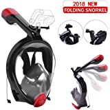 180° Full Face Snorkel Mask, VILISUN [2018 UPGRADE],New Foldable Diving Mask with Detachable GoPro Mount,With Larger Viewing Area Than Traditional Masks,Dry Top Set Anti-fog Anti-Leak for Adults Youth
