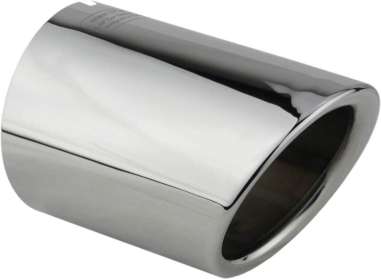 1 Apertura de escape acero inoxidable espejo pulido cromo Plug Play opturador tubo de escape tubo de escape número de comparación L&P A284-1