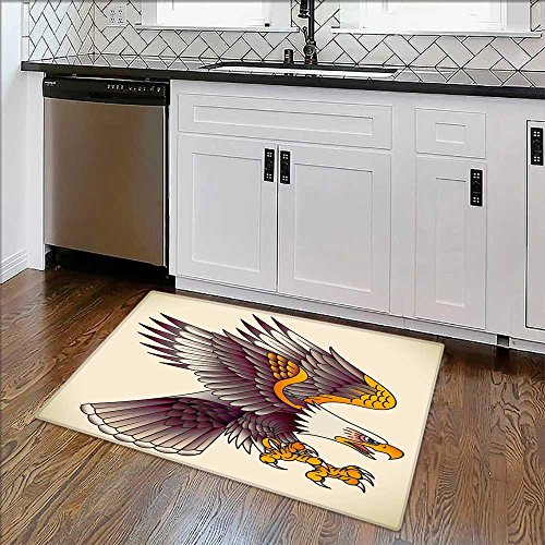 Rug Easy to Clean Durable Bald eagle attacking Old school tattoo design Rug for Kitchens W30quot x H18quot