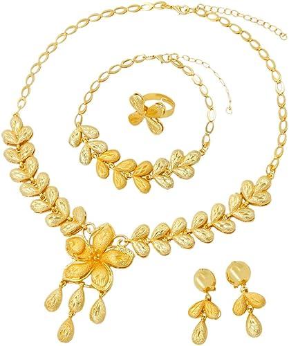 Indien Mode Mariage Bijoux Mariage Ton Doré Collier Earring Set