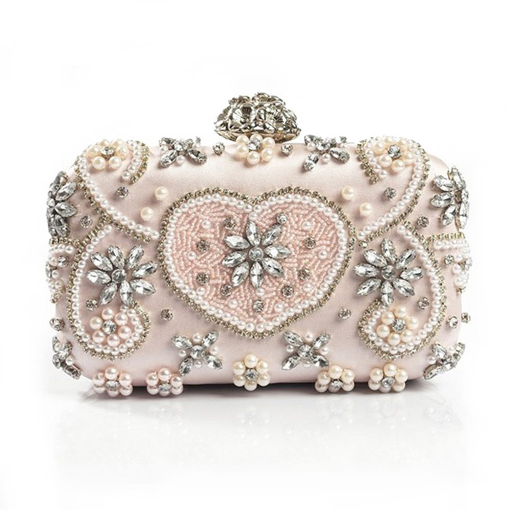 Luxury Crystal Evening Bag Handmade Style Rhinestones Pearl Women Evening Bags Vintage Satin Lady Party Wedding Clutches Purses by XUNFEI