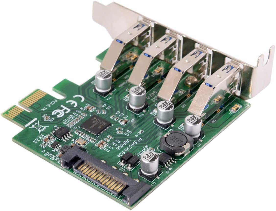chenyang CY Low Profile 4 Ports PCI-E to USB 3.0 HUB PCI Express Expansion Card Adapter 5Gbps for Motherboard