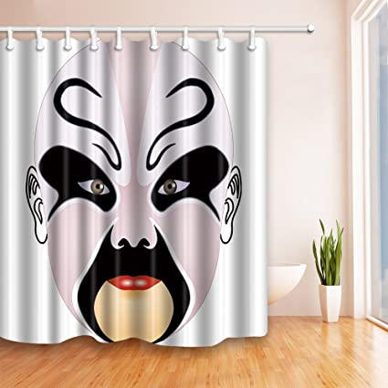 Qianliansheji Facebook Theme Shower Curtain Bathroom Supplies Black And White Drama Chinese Style Traditional Retro Creative