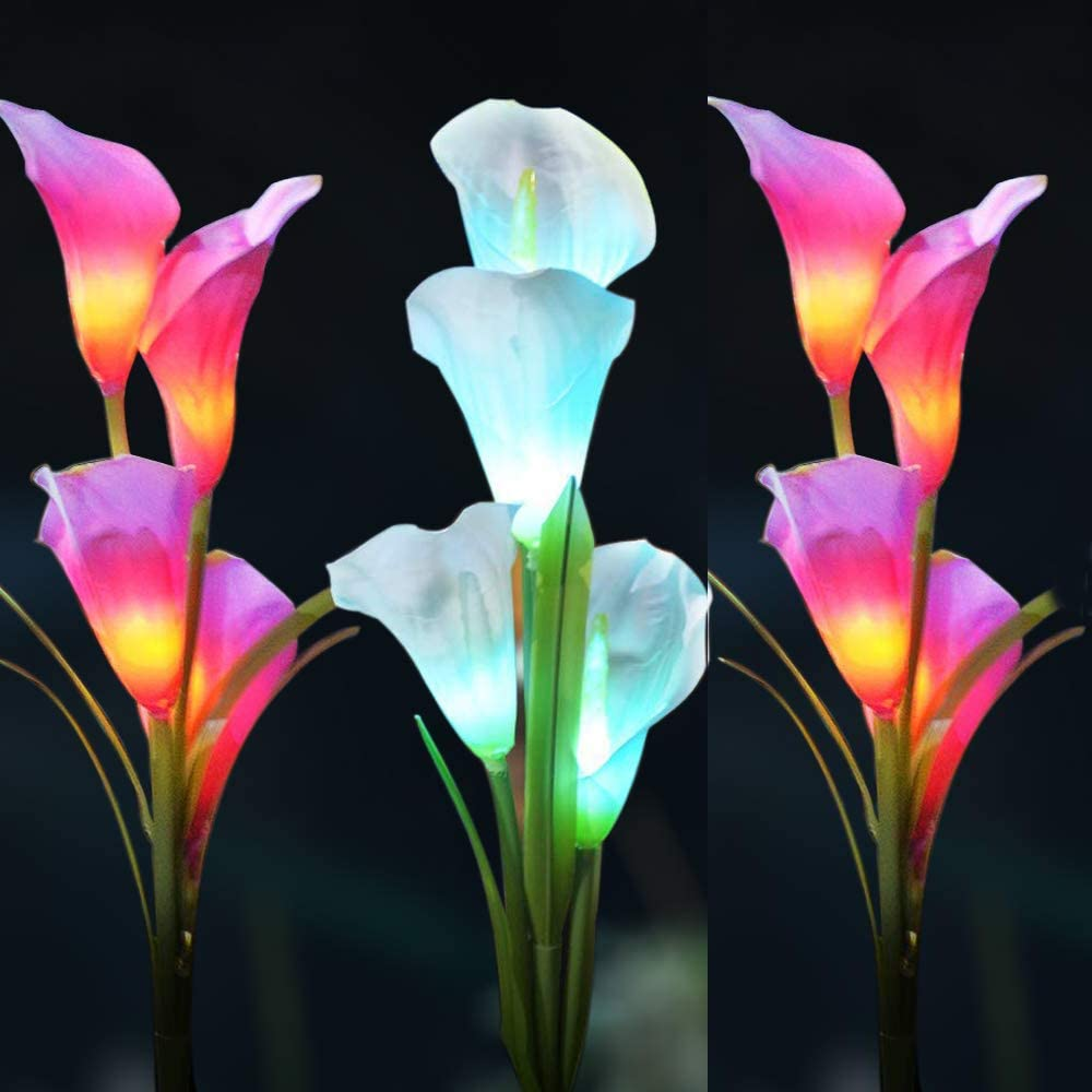 3Packs Solar Flower Lights Outdoor, Auto Multi-Color Changing Solar RGB Landscape Lights with Spike, Solar Garden Lights with 12pcs Calla Lily Flowers for Garden, Lawn, Backyard (Purple/White)