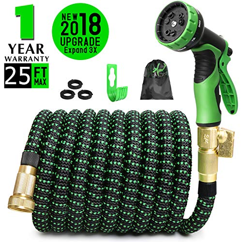 COLAM 25ft Expandable Garden Hose, Flexible Expanding Hose Extra Strength Fabric Outdoor, Water Hose with 3/4 inch Solid Brass Fittings 9 Function Spray Pattern Nozzle