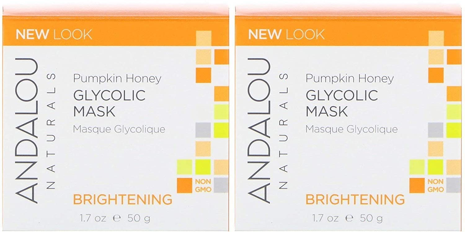 Andalou Naturals Brightening Pumpkin Glycolic Mask (Pack Of 2) With Aloe vera, Manuka Honey, Sunflower, Meadowfoam, Apple, Vitamin C, Pineapple, Lemon, Nutmeg, Roobois, Clove and Cinnamon, 1.7 oz. eac