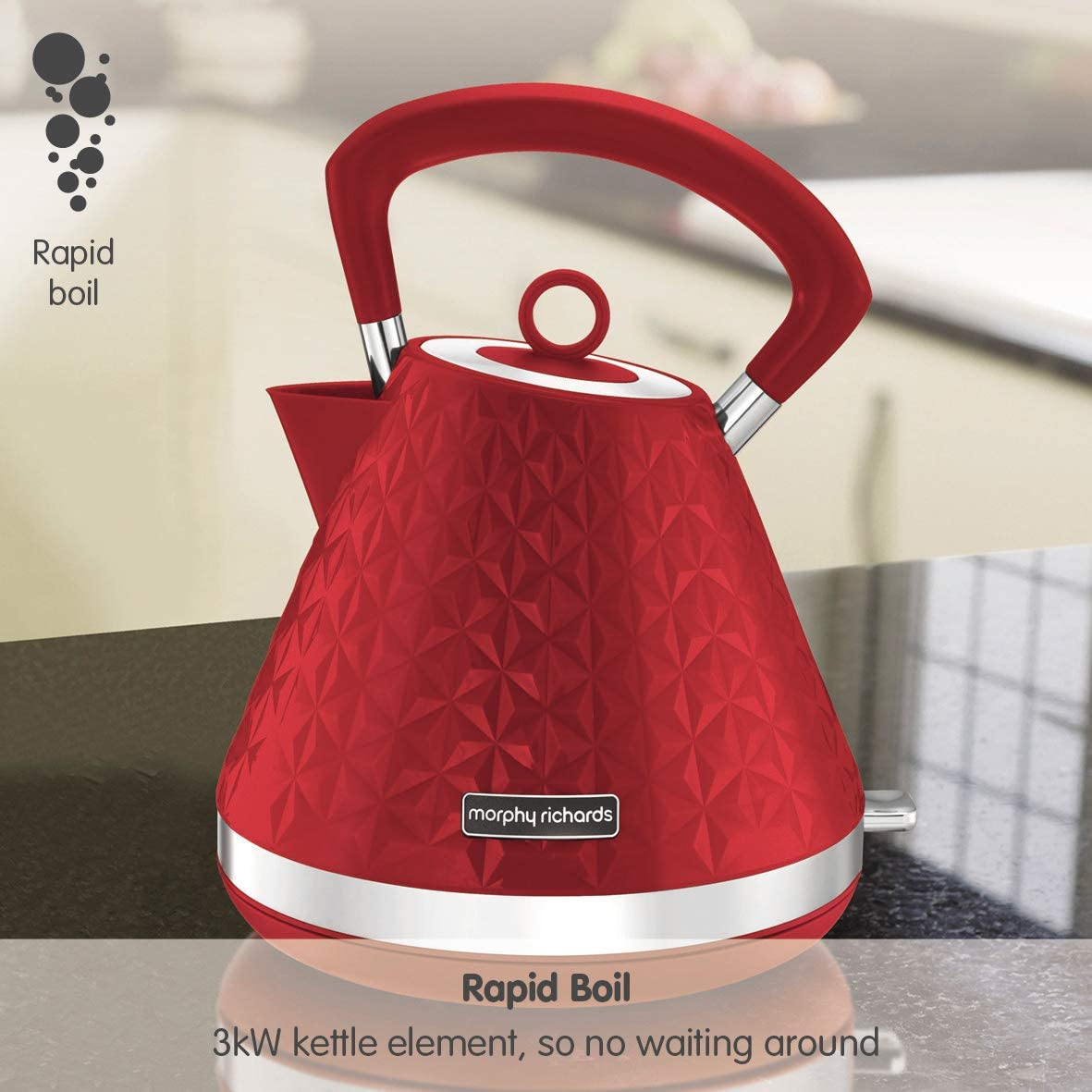 Morphy Richards Vector Pyramid Kettle 108133 Traditional Kettle Red