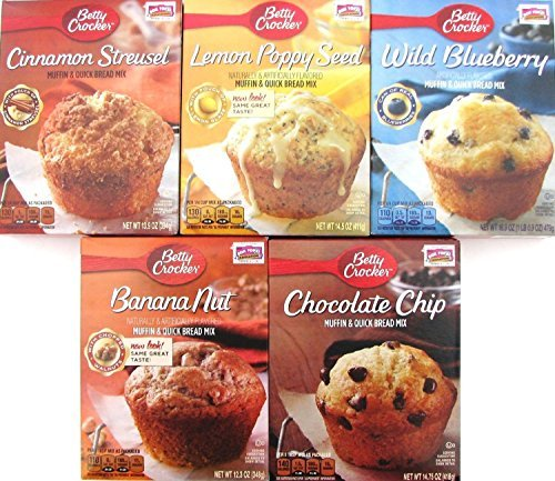 Betty Crocker Muffin and Quick Bread Mix Variety Pack of 5 Cinnamon Streusel, Wild Blueberry, Chocolate Chip, Banana Nut, Lemon Poppy ()