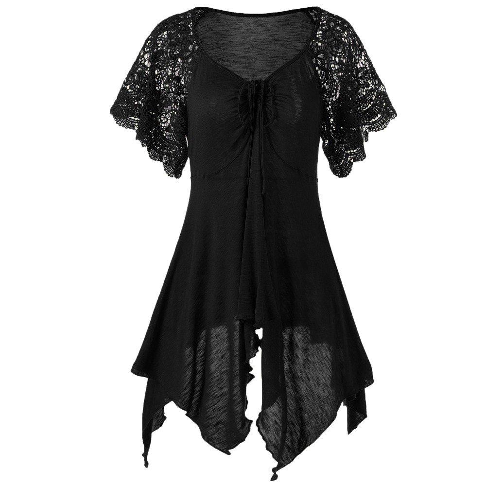 Handyulong Plus Size Women Shirts Short Sleeve Ruffles Retro Rose Casual Tunic T-Shirt Blouse Tops