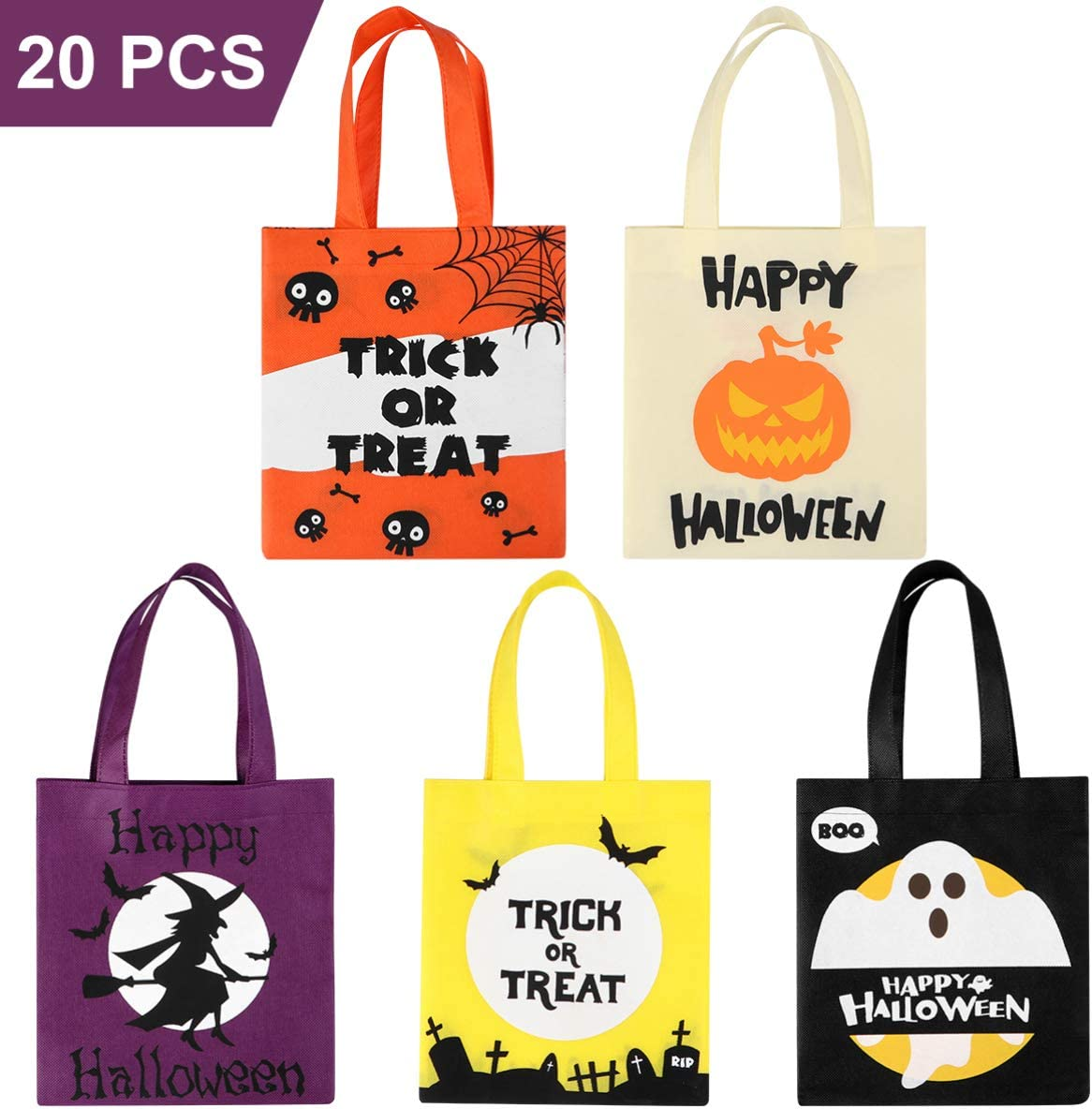 Halloween Trick or Treat Bags, Reusable Halloween Tote Bags for Kids for Halloween Party Favors 20PCS (5 Colors)