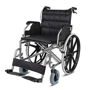 HSRG Silla de Ruedas de Ancianos, Plegable Ultralight ensanchada Asiento Scooter para Ancianos discapacitados Trolley Manual Silla de Ruedas: Amazon.es: ...