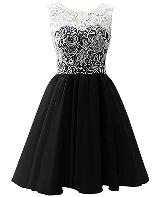 Black YIRENWANSHA 2018 Short Homecoming Dress for Women Manual Lace Knee Length Formal Prom Gown YJW5