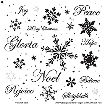 christmas words snowflakes stencil by studior12 elegant word art reusable mylar template